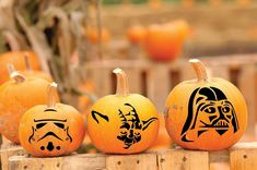 Pumpkin Decorations, Star Wars Halloween Decorations Darth Vader, Yoda, Storm Trooper and Death Star Jack O Lantern Stickers - Halloween Fun, Set of 3 Faces Fall Decor
