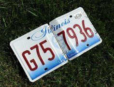 Recycled Illinois license plate photo album