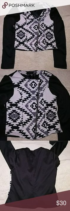 Koan Women's Jacket S Loan Women's Jacket... Size Small, color is black and white... Has two different functions for the zipper as pictured Koan Jackets & Coats