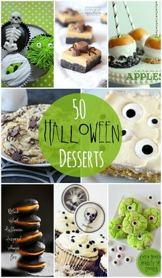 50 Halloween Desserts - So many delicious and spooky dessert ideas!! { lilluna.com } #dessert #food #recipes #recipe #halloween #party #trickortreat #trick #treat #bags #goodies #bag #favor #sweets #cookies #cupcakes #caramel #apples #NBC #nightmare #Before #christmas #jack #skellington #decorating #baking #50 #ideas #list