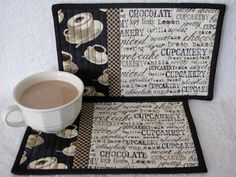 Quilted Mug Rugs with Cup Cake Word Theme by HiddenLakeHomespuns