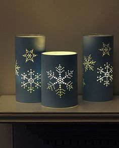 punched holiday lanterns, light up like tin can lanterns but made from paper.Tin Can Candles - Decorating with lights – 20 DIY String Light Projectssnowflakes patterns for can Beautiful Christmas Home Decoration Ideas From Martha Stewart Noel Christmas, All Things Christmas, Christmas Crafts, Christmas Decorations, Christmas Lanterns, Xmas, Snowflake Decorations, Nordic Christmas, Christmas Templates