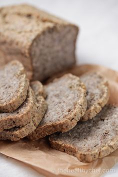 Buckwheat Chia Bread from The Healthy Chef (used soaked whole buckwheat rather than flour; no eggs)