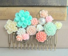 Peach Pink Mint Green Wedding Shabby Chic Hair Comb Bridal Hair Comb Hair Jewelry Accessories Bridesmaids Gift Romance Soft Misty Rustic