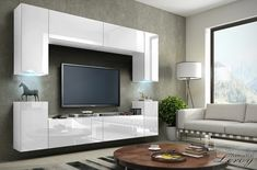 The furniture wall unit for modern interiors of the living room, having optional LED lighting you can choose between blue or white Living Room Bench, Living Room Interior, Living Room Furniture, Cool Furniture, Furniture Sets, Furniture Design, Furniture Stores, Rustic Furniture, Antique Furniture