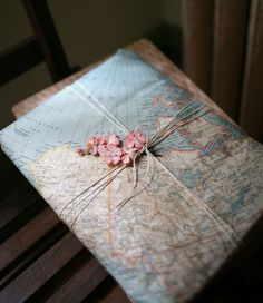 Maps for wrapping paper. What a way to give a gift like journals and pens or a photo album to someone who loves to travel?!