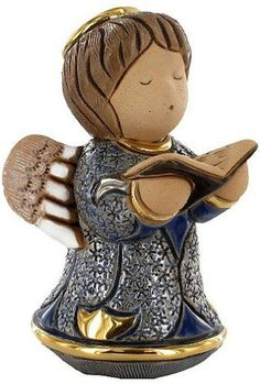"""Amazon.com: Custom & Unique {3.5 x 3.2"""" Inch} 1 Single, Small Home & Garden """"Standing"""" Figurine Decoration Made of Grade A Genuine Ceramic w/ Little Angel Praying w/ Book Style {Blue, Gold & White}: Home & Kitchen"""