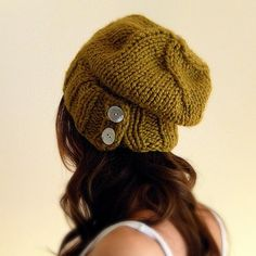 Slouchy Hat Warm Winter Beanie with Buttons / THE by KittyDune, $38.00