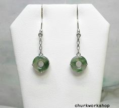 Natural color jade earrings, dangling jade earrings, green jade earrings, silver jade earrings, gold earrings by churkworkshop on Etsy Jade Earrings, Dangle Earrings, Jade Green, Earring Set, Dangles, White Gold, Natural, Silver, Etsy