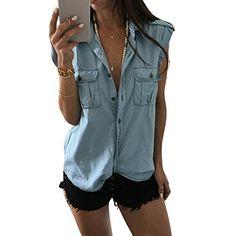 50d7a093120 New Fashion Women Summer Vest Top Botton Sleeveless Shirt Blouse Casual  Tank Tops Shirt Size S-XL