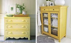 More old furniture pieces re-painted in bright yellow