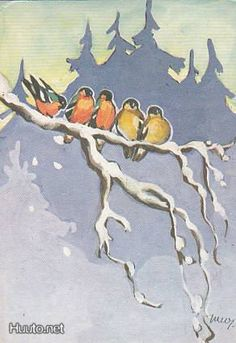 Vintage Christmas/Winter Art by Martta Wendelin ~ Orange Accents Christmas Tale, Christmas Bird, Vintage Christmas Cards, Vintage Holiday, Winter Illustration, Art Et Illustration, Christmas Illustration, Art Carte, Old Postcards
