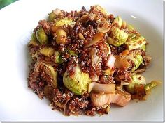 Roasted Brussels with Red Quinoa