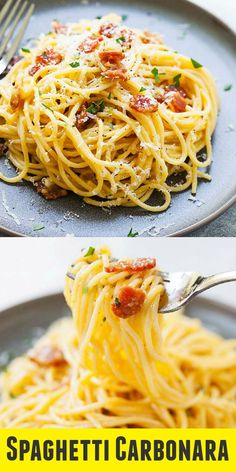Spaghetti Carbonara - proper and authentic recipe how to make Spaghetti alla Carbonara. This Roman Pasta Carbonara is rich, creamy, with every strand coated in cheese and eggs. So delicious | easyweeknight.com @easyweeknight #dinner #pasta