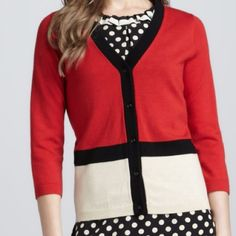 Kate Spade Cardigan Kate Spade Color Block Cardigan, Size M, Extra-fine merino wool knit with tricolor colorblock design. Orig $298 OFFERS WELCOME!!!!✨✨ kate spade Sweaters Cardigans