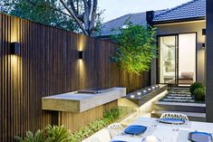"""Project: """"Floating BBQ and cantilevered water feature Contemporary Garden Design, Landscape Design, Porches, Outdoor Spaces, Outdoor Living, Front Courtyard, Built In Bbq, Outdoor Kitchen Design, Terrace Garden"""