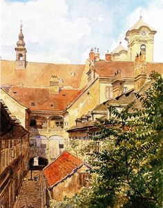 """Watercolour by a young Adolph Hitler. As a boy he had shown natural talent for art. But when he took the entrance exam for the Vienna Academy of Fine Arts, his drawings were judged unsatisfactory and he was rejected. This struck him like a bolt of lightning. Later, as Fürer of Germany he would tell ambassador Henderson: """"I am an artist and not a politician. Once the Polish question is settled, I want to end my life as an artist."""""""