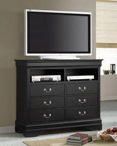 Sharlene Black Finish TV Console - Furniture 2 Go