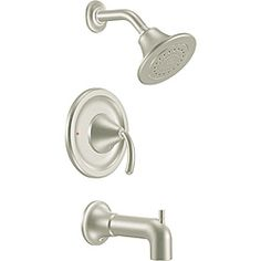 @Overstock - This Moen tub and shower trim features a brushed nickel finish.  http://www.overstock.com/Home-Garden/Moen-TS2143BN-ICON-Posi-Temp-Brushed-Nickel-Tub-Shower-Trim/6621948/product.html?CID=214117 $259.99