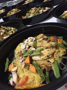 Chicken Curry- Marinated Grilled Chicken, Spaghetti Squash, Roasted Green Beans, Bell Peppers, Onion and Sweet Potato's covered in a Coconut Almond Curry Sauce #healthyfoods #healthy #freshfitfoods