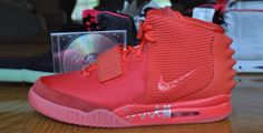 This is a Nike Air Yeezy 2 Red October. Autographed by Kanye West.
