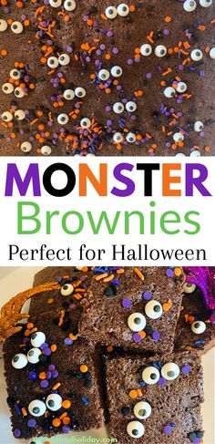 Monster brownies are one of the easiest Halloween dessert you can make this year. Box mix holiday recipes are easy and fun. These monster brownies are the perfect halloween party food. You can even make them for a Hallowen bake sale. Kids will love helping you make these monster brownies. Healthy Halloween Snacks, Halloween Treats For Kids, Halloween Baking, Halloween Dinner, Halloween Desserts, Halloween Food For Party, Halloween Birthday, Halloween Activities, Halloween Recipe