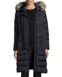 MONCLER Khloe Quilted Puffer Coat W/Fur Hood, Navy. #moncler #cloth #