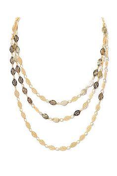 Sevil - 18k Gold Plated Gold Brown Leaf Triple Strand Necklace