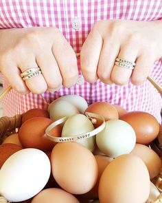 """Got eggs? 😊We're so thankful for our girls! They are working so hard!  Yall, I want to share a wonderful jewelry designer, Lisa, @lisaleonard. Her jewelry is just exquisite. They can custom design any name for you. Wouldn't a """"farmgirl"""" ring be cute!!!! Please go check out her IG gallery and website, lisaleonard.com.  Not only will you see beautiful jewelry,  but you will get to know this entrepreneur, wife, mom of two boys, and inspration to all! . . . . #happyhomesteading #homesteading…"""