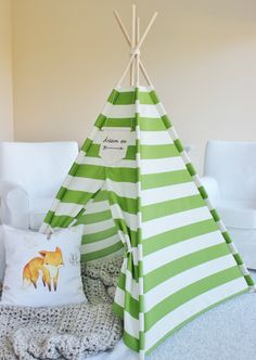 Green Stripe Indoor/Outdoor Fabric Play Tent Teepee Playhouse - NO POLES by AshleyGabby on & Citrus Stripe Indoor/Outdoor Fabric Play Tent Teepee Playhouse ...