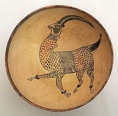 A-Nishapur-figural-pottery-bowl-decorated-with-an-ANTELOPE-Persia-11-12-th-cnt