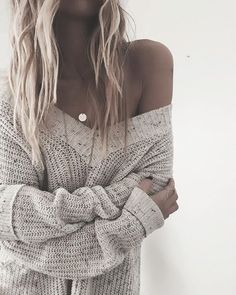 Cozy big long sweaters are my jam.  @elanusa / wearing our 'Constellation Necklace. Made With Love XO