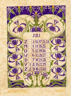 Anna Sipkema, illustrator (1877-1933). July. Bloem en blad (Flower and leaf). 1904. Dutch calendar.