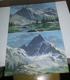 PBN Vintage Paint by Number Mountain Scenery Landscape Snow Pair 10x14 Unframed | eBay