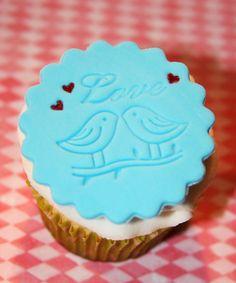 Fondant cupcake topper Wedding Love Birds