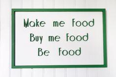 Tableau 3D blanc et vert Make me food, Buy me Food, Be Food, 3D text, green and white fully handmade, tableau en relief fait main de la boutique FrenchyVintageStore sur Etsy