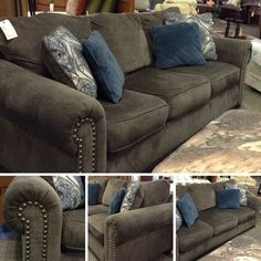 Sofa - Grey Fabric Sofa w/ 4 Pillows - $489.95