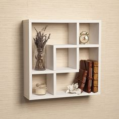 White Intersecting Wall Shelf Cube Square Decorative Shelving Display Shelves #Modern