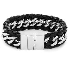 West Coast Jewelry Crucible Black Braided Leather and Stainless Steel... ($20) ❤ liked on Polyvore featuring men's fashion, men's jewelry, men's bracelets, white, mens leather braided bracelets, mens chain link bracelets, mens two tone bracelets, mens magnetic bracelets and mens stainless steel bracelets