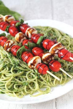 Spinach Pesto Pasta with Caprese Skewers -  a quick and easy vegetarian mid week meal