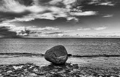 A lonely stone on the beach
