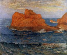 Les Roches Rouges à Belle Ile, Finistere, huile sur toile de Maxime Maufra (1861-1918, France)