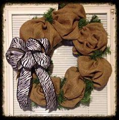 Burlap Wreath with Zebra bow