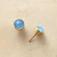 CHECKERED BLUE ONYX EARRINGS--Checkered facets enhance the translucent gems in our blue onyx stud earrings, each stone embraced by golden bezels. Handcrafted exclusive in matte 22kt gold plate