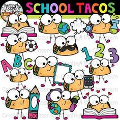 School Tacos Clipart {School Clipart} Create fun resources with this vibrant Taco Friends Clipart. #creating4theclassroom #backtoschool #teacherfreebies #clipartforteachers