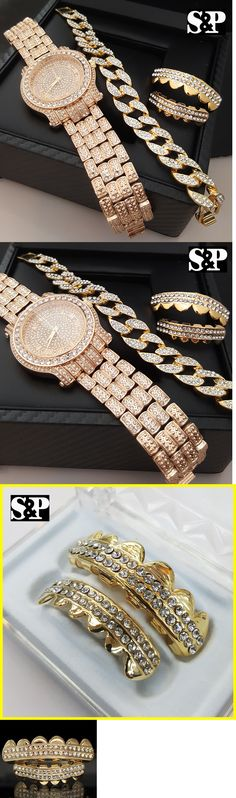 Grillz Dental Grills 152808: Men Hip Hop Iced Out Lab Diamond Watch And Cuban Bracelet And Grillz Combo Gift Set BUY IT NOW ONLY: $42.74