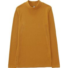 WOMEN RIBBED HIGH NECK LONG SLEEVE T, YELLOW, large