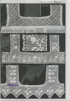 Crochet Yoke, Crochet Lace Edging, Crochet Borders, Crochet Chart, Thread Crochet, Knit Or Crochet, Filet Crochet, Crochet Stitches, Crochet Designs