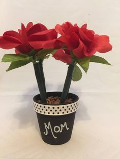 Mother's Day Beautiful Red Rose Handpainted Flower Pen Pot Gift by DivineLionessDesigns on Etsy