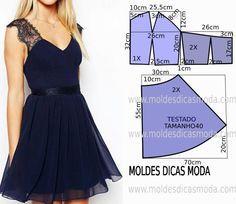 Passo a passo construção do molde de vestido azul fácil. O molde de vestido encontra-se no tamanho 44. A ilustração do molde de vestido não tem valor de co